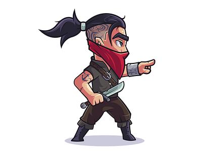 Rebels: Ulvar chief bandit tattoo knfe fantasy creative art thief illustrator character design vector design flat illustration character