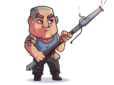 Rebels: Ragnar tattoo bandit gun cannon fantasy creative warrior art character design vector design flat illustration character