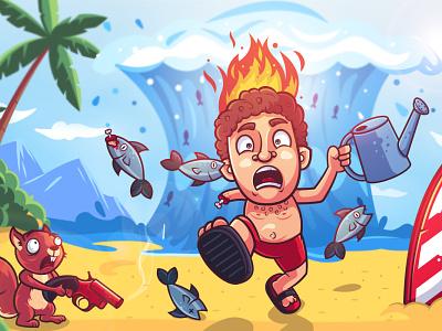 Strange beach - Broken Phone Game squirrel art insane crazy wave run man beach fish creative design character design flat illustration character
