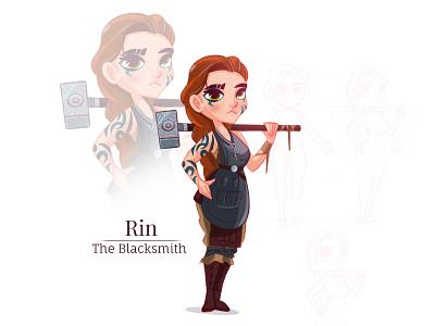 Shattered Sea - Rin hummer viking north art girl blacksmith book conceptual concert character design flat illustration character