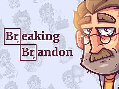 Breaking Brandon — Telegram Stickers vector illustrator funny science telegram graphic design illustraion stickerpack stickers character design character