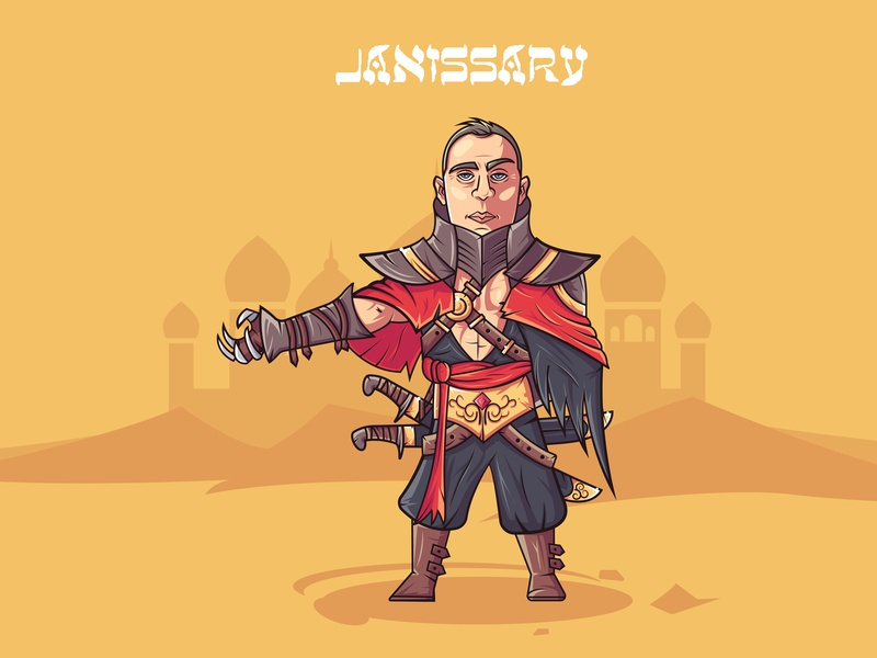 Desert assasin art 2d character 2d art assassin warrior flat design illustation illustrator vectorart vector characer charachter design