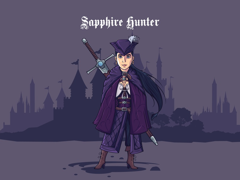 Sapphire Hunter - hello dribbble! hello dribbble first shot sapphire hunter vectorart vector illustration illustration art girl game art flat design charachter design character 2d character 2d art