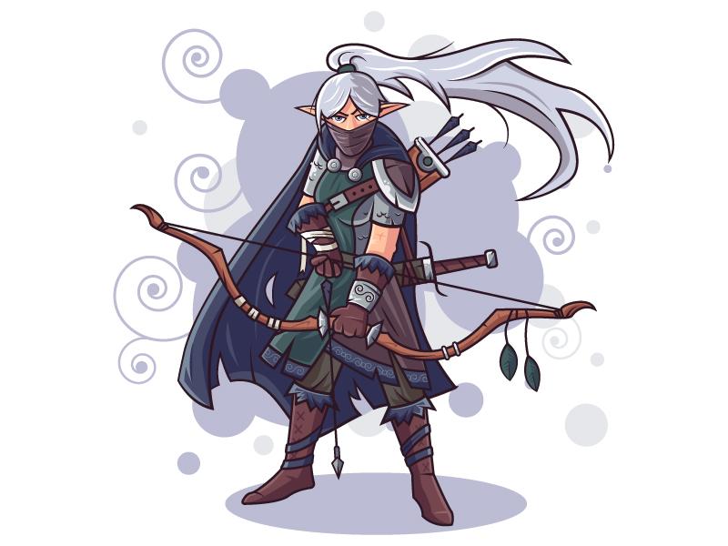 Character Design - Elf Hunter archer bow hunter elf vectorart vector illustrator illustation flat character design character art