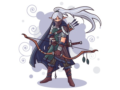 Character Design - Elf Hunter archer bow hunter elf vectorart vector illustrator illustation flat character design character art