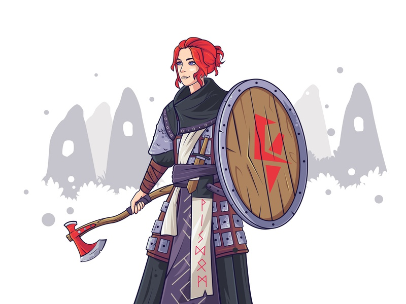 Female Viking Warrior redhead red axe shield viking girl woman flat warrior illustration characterdesign vectorart character vector