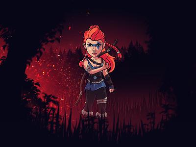 Rikke - The Dogman's daughter viking north warrior vector bowman archer photoshop illustrator illustration guardian flat fantasy fanart design dark creative character design character