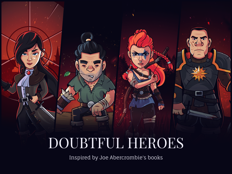 Doubtful Heroes - Fanart behance set warrior vector photoshop illustrator illustration guardian flat fantasy fanart design dark creative character design character
