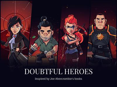 Doubtful Heroes - Fanart behance set warrior vector photoshop illustrator illustration guardian flat fantasy fanart design dark creative character design character