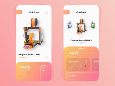 3D Printer Shop - Shopping & Checkout Screens