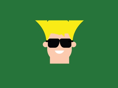 No.8 – Guile green guile vector cute retro product designer typography character design street fighter flat colour illustration