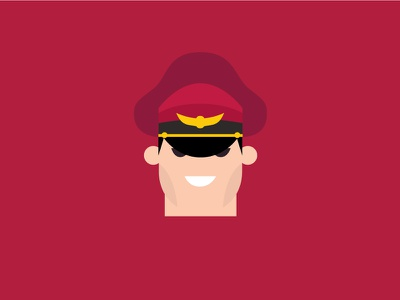 No.12 – M.Bison m.bison red vector cute retro product designer typography character design street fighter flat colour illustration