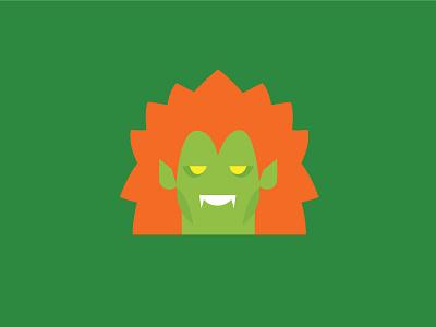 No.11 – Blanka illustration flat colour street fighter character design product designer retro cute vector green blanka
