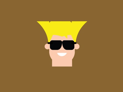 Guile – Player 2 guile brown vector cute retro product designer typography character design street fighter flat colour illustration