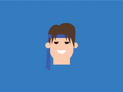 Ryu – Player 2 ryu blue vector cute retro product designer typography character design street fighter flat colour illustration
