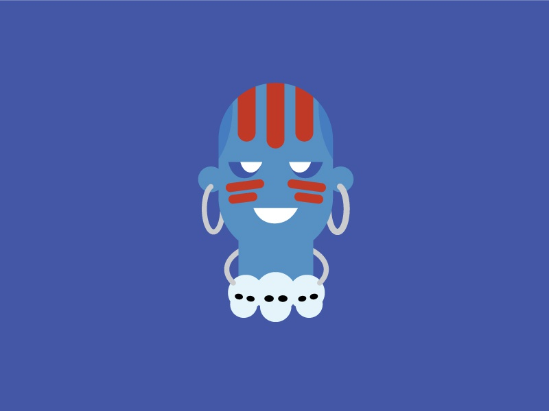 Dhalsim – Player 2 blue vector cute retro product designer typography character design dhalsim street fighter flat colour illustration