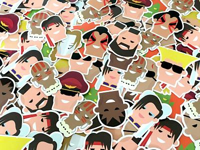 Street fighter II stickerpacks character design stickerbomb stickers street fighter flat colour illustration