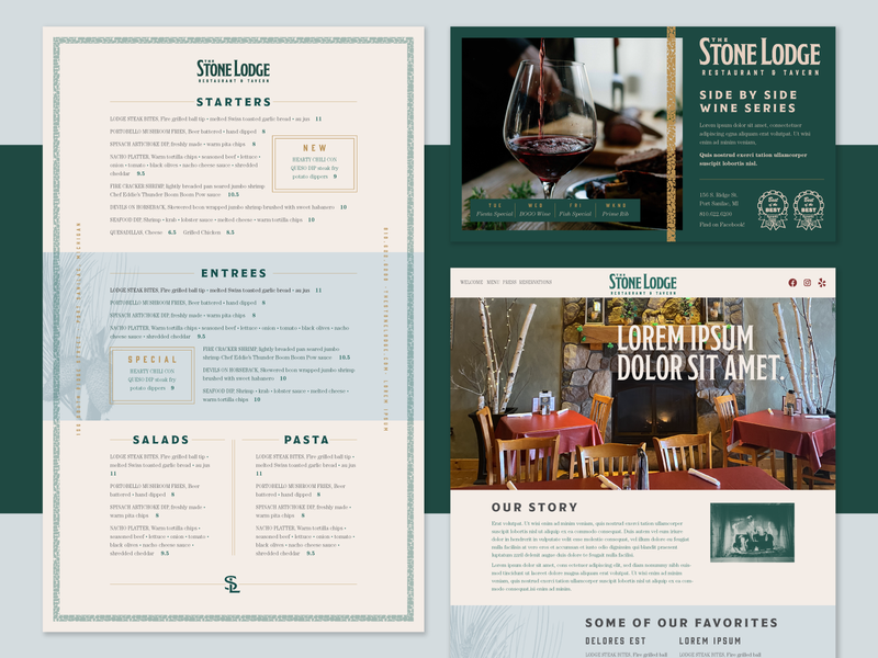 Stone Lodge Visual Style: Unused Direction typography brand identity branding restaurant michigan