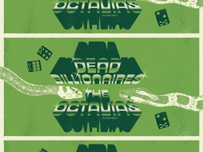 Dead Billionaires FB Event Graphic retro chrome illustration rva gig poster graphic design typography music richmond design