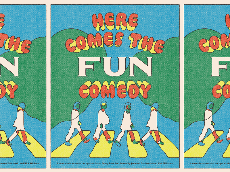 Here Comes the Fun music the beatles rva flyer halftone comedy richmond gig poster design