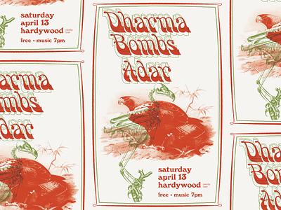 Dharma Bombs Gig Poster eagle skeleton rva flyer psychedelic windsor gig poster graphic design music richmond design