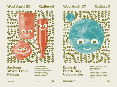 Earth Day Fliers WIP cooper black earth day windsor typography gig poster music design richmond