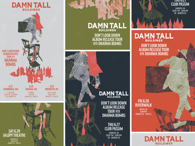 Damn Tall Buildings Tour Posters damn tall buildings dharma bombs rva typography flyer gig poster music richmond