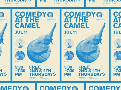 Disco Elephant halftone comedy gig poster richmond