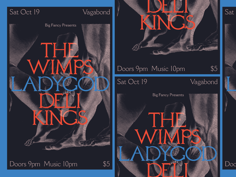 Vagabond Gig Poster deli kings ladygod the wimps rva flyer graphic design typography gig poster music design richmond
