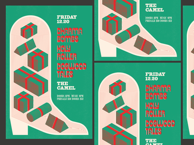 Cowboy Disco Christmas Gig Poster cowboy christmas illustration halftone rva flyer graphic design typography gig poster music design richmond