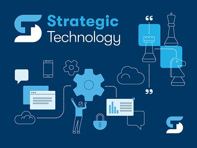 Strategic Technology: Brand Identity illustration identity design branding design richmond