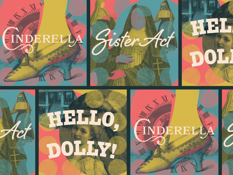 Unused Theatre Graphics hello dolly cinderella sister act design