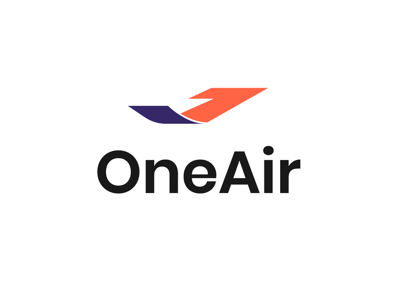 OneAir - Airlines branding contest worldwide airline app adobe illustrator ocean airline logo logoinspiration air contest typography vector icon logo branding color one airplane flight soft creative airline