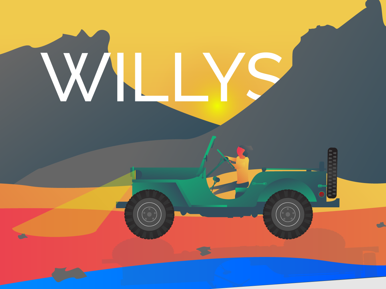 Willys - Illustration landscape inspiration pallete color gradient dribbble drawing creative desert character mountains adobe illustrator 2d willys old background illustration cars