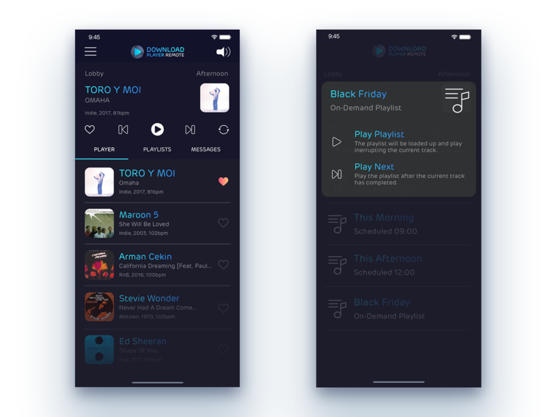 Download Player Remote - Playlist selection remote ux ui app music
