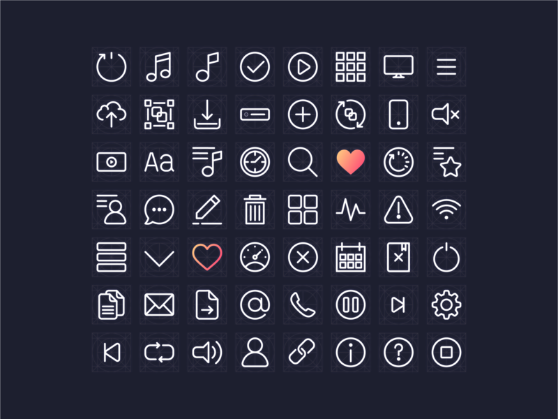 Icons app minimal device line icons dashboard ui player music