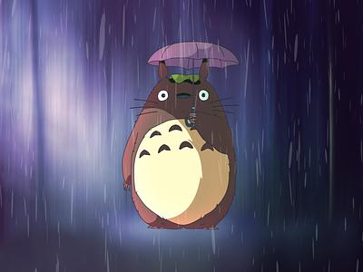 Totoro umbrella rain forest totoro art illustration
