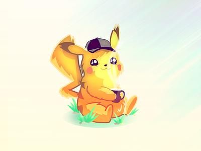 Detective Pikachu steam coffee illustration detective pokemon pikachu