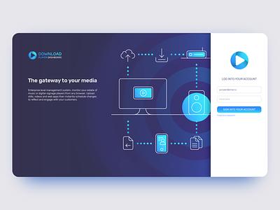 Download Player Dashboard - Landing Page form login music speaker illustration infographic ux ui website