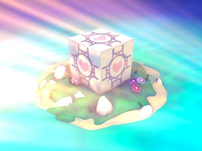 Companion Cube gaming game ocean sunrays c4d island companion cube portal 3dart 3d