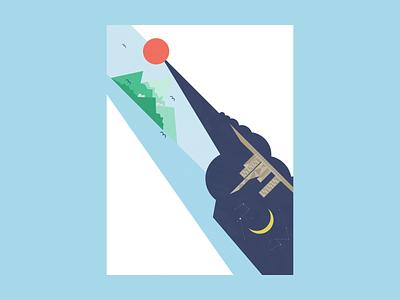 Day and night affinitydesigner illustration
