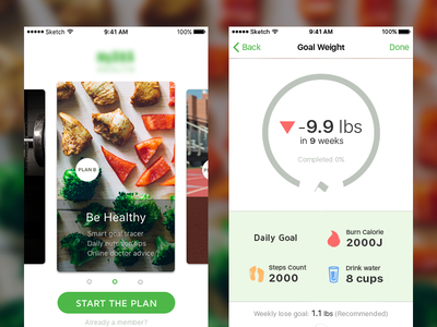 Onboarding and Goal sketch ios health app mobile