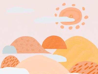 Pinky mountains mountains illustration affinitydesigner