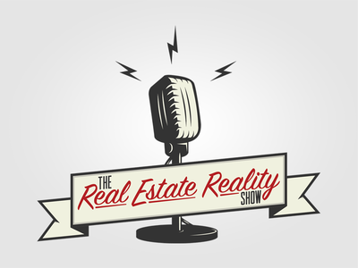 The Real Estate Reality Show Podcast Logo banner logo design logo podcasts electricity microphone podcast real estate