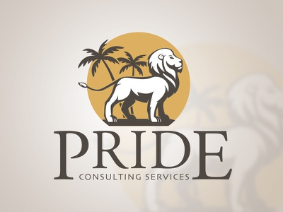 Pride Consulting Services Logo branding tropical desert palm tree illustrator consulting lion pride logo