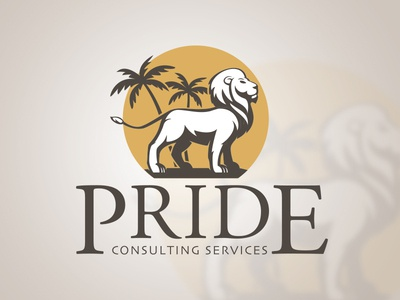 Pride Consulting Services Logo branding tropical desert palm tree illustrator consulting lion pride logo
