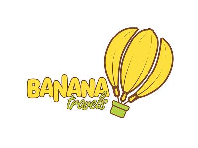 Banana Travels forsale airballoon logo yellow crazy fruit vacation banana travel