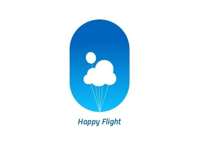 Happy Flight 01 strings up logo adventure sky plane happy blue balloons windows clouds kids flight
