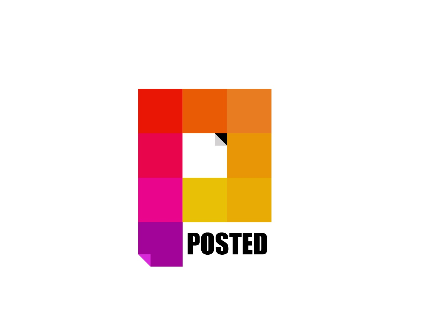 Posted Logo idea post identity logo design branding color notes sticker posted