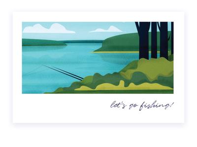 let s go! 2 nature illustration nature green water lake fishing landscape vector illustration